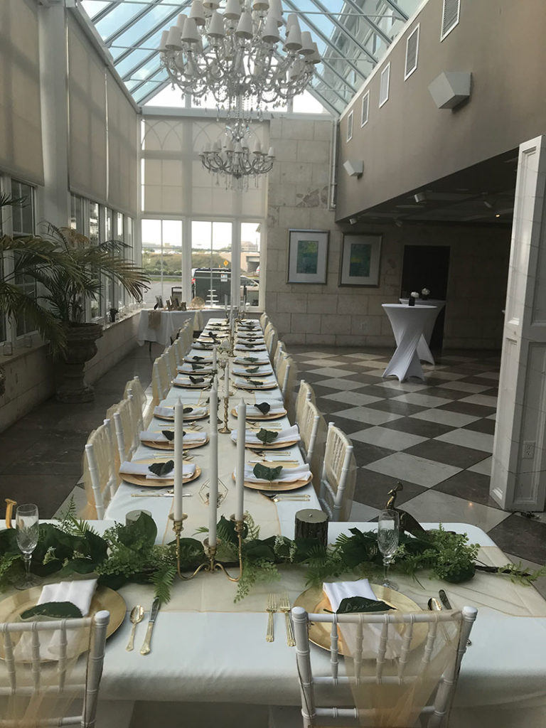 long rectangular table in the conservatory at 5120 Restaurant event venue