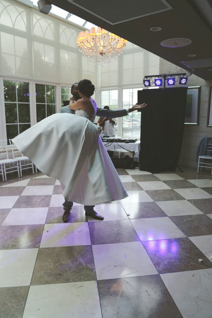 bride and groom dancing at at 5120 Restaurant venue space